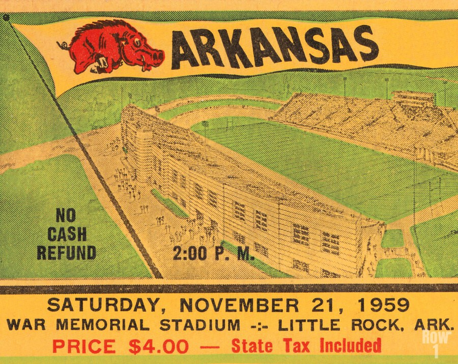 1959 Arkansas Football Ticket Art  Print