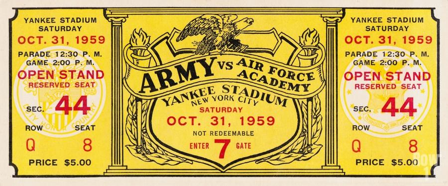 1959 Army vs. Air Force Football Ticket Art  Print