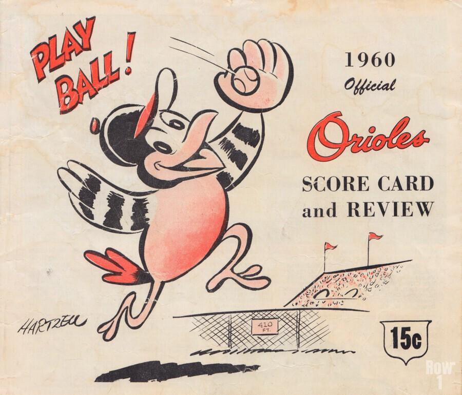 1960 baltimore orioles baseball score card art baseball poster  Imprimer