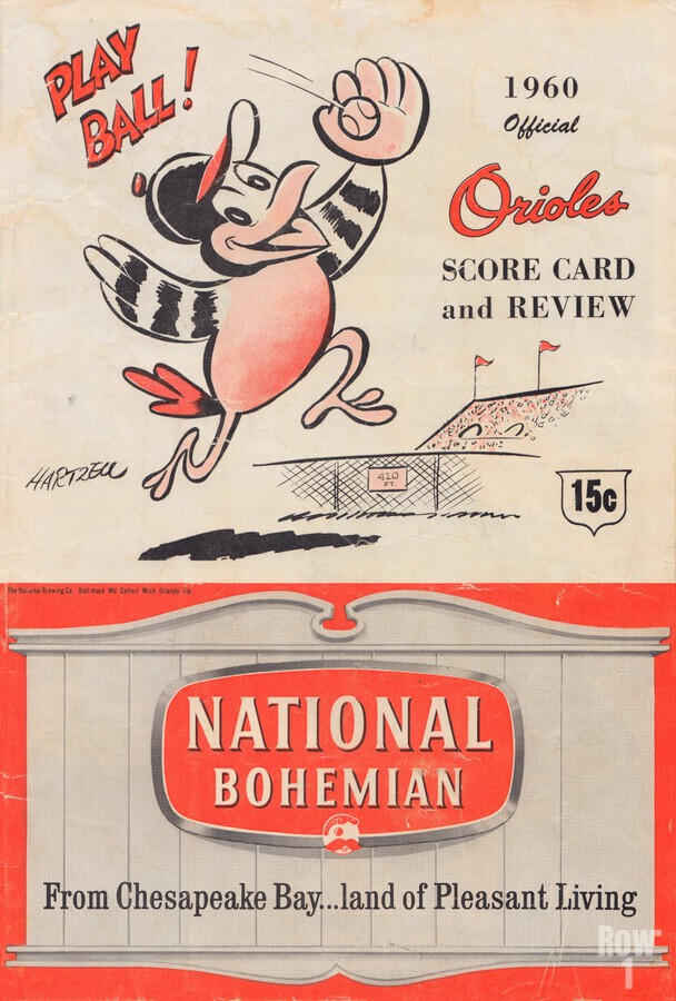 1960 baltimore orioles baseball score card review national bohemian beer ad poster  Imprimer