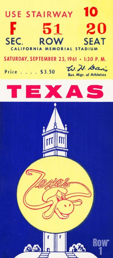 1961 California Bears vs. Texas Longhorns  Print