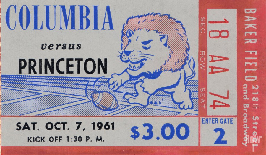 1961 Columbia vs. Princeton Ticket Stub Art  Print