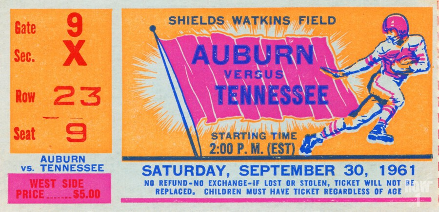 1961 Tennessee vs. Auburn Football Ticket Art  Print