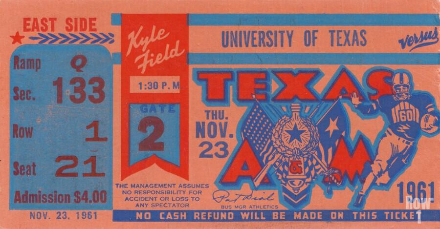 1961 texas am aggies football ticket wall art  Print
