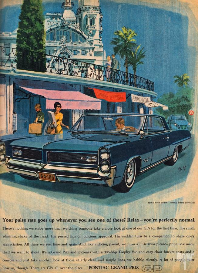 1964 Pontiac Grand Prix Car Advertisement  Print