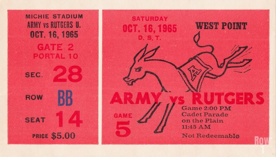 1965 Army vs. Rutgers Football Ticket Art  Print