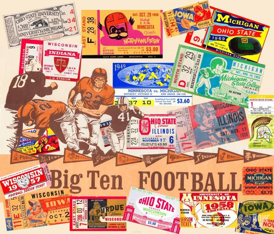 Big Ten Football Ticket Stub Collage  Print