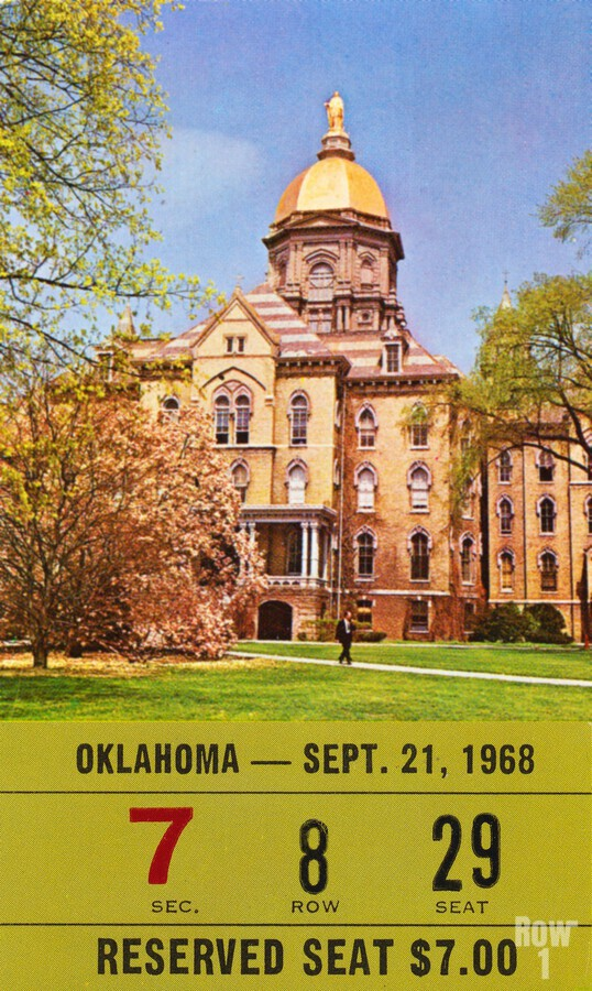 1968 oklahoma sooners notre dame college football south bend indiana sports tickets wall art  Print