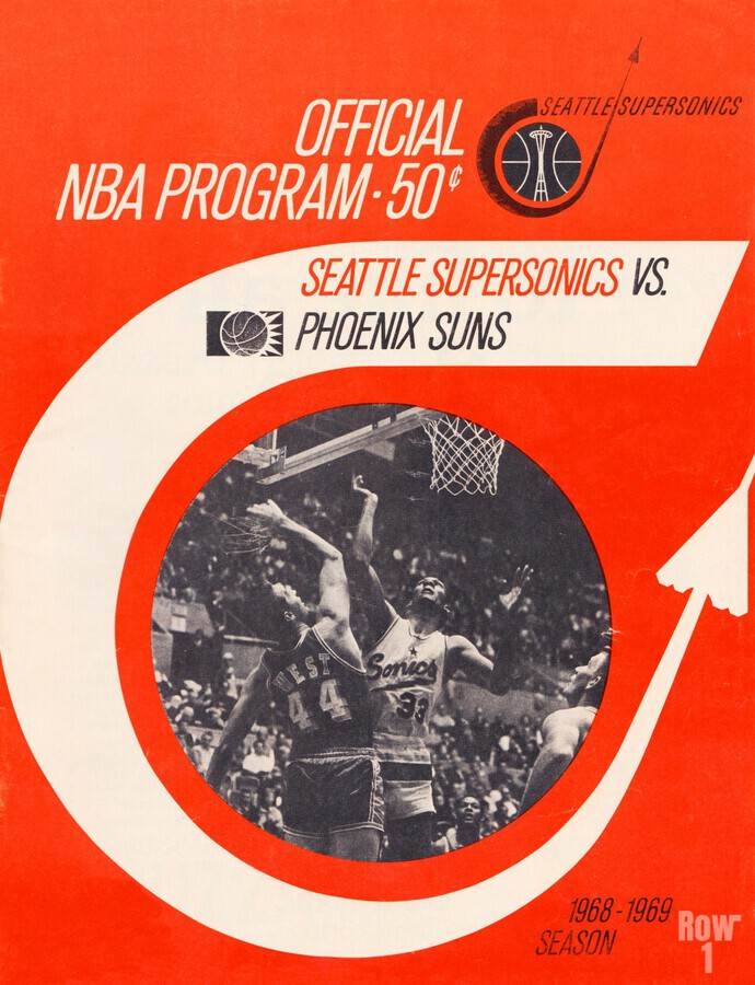 1968 seattle supersonics program cover art sports poster