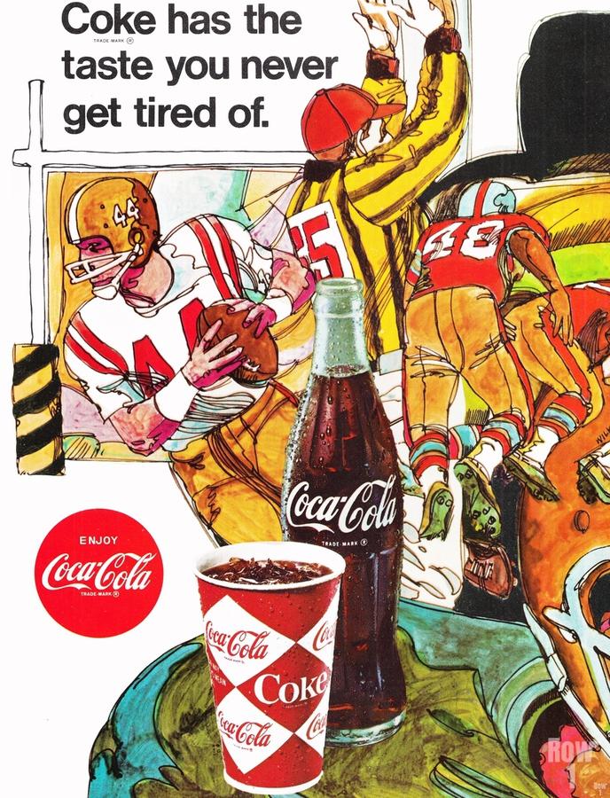 1969 Coke Football Ad Poster  Print