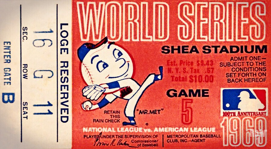 1969 New York Mets Game 5 Ticket Art  Imprimer