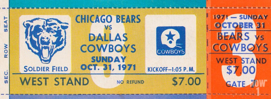 1971 Chicago Bears vs. Dallas Cowboys Ticket Art  Print