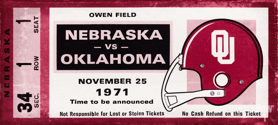 1971 Oklahoma Sooners vs. Nebraska Cornhuskers Remix  Print