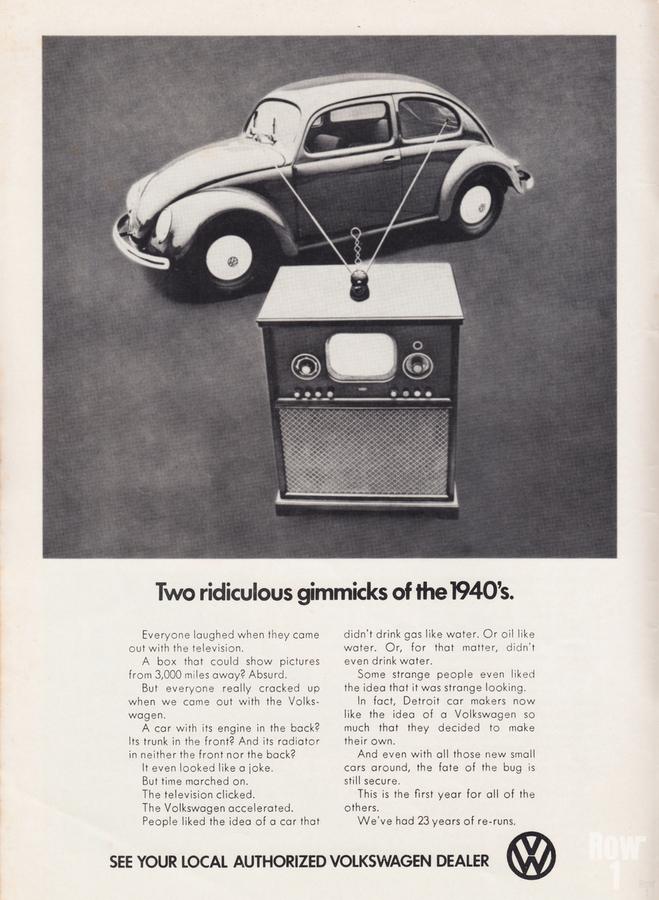 1971 Vintage Volkswagen Car Ad Poster  Print