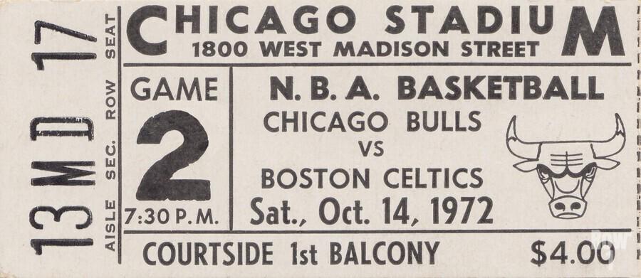 1972 Chicago Bulls vs. Boston Celtics Ticket Stub Art  Print