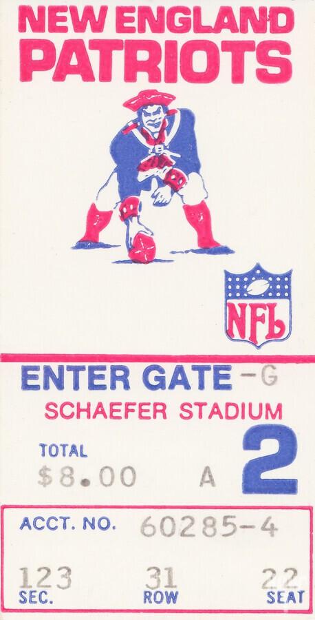 1972 new england patriots schaefer stadium art  Print
