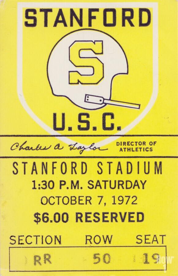 1972 Stanford vs. USC Ticket Stub Art  Print
