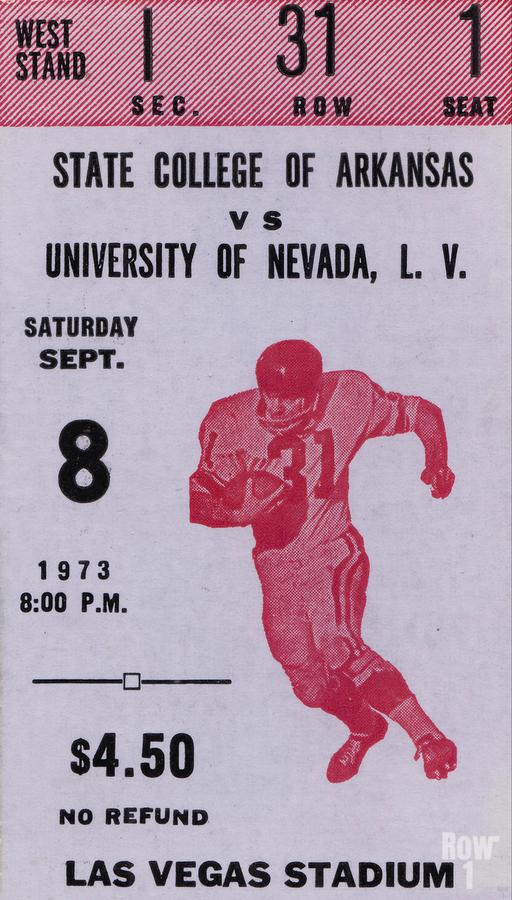 1973 UNLV Rebels vs. Central Arkansas Bears Football Ticket Art  Print