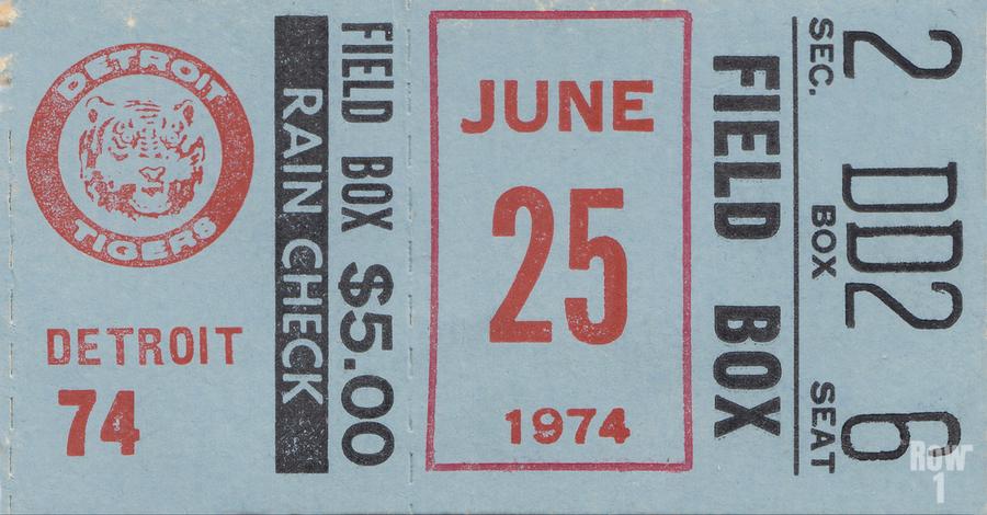 1974 Detroit Tigers Field Box Ticket  Print