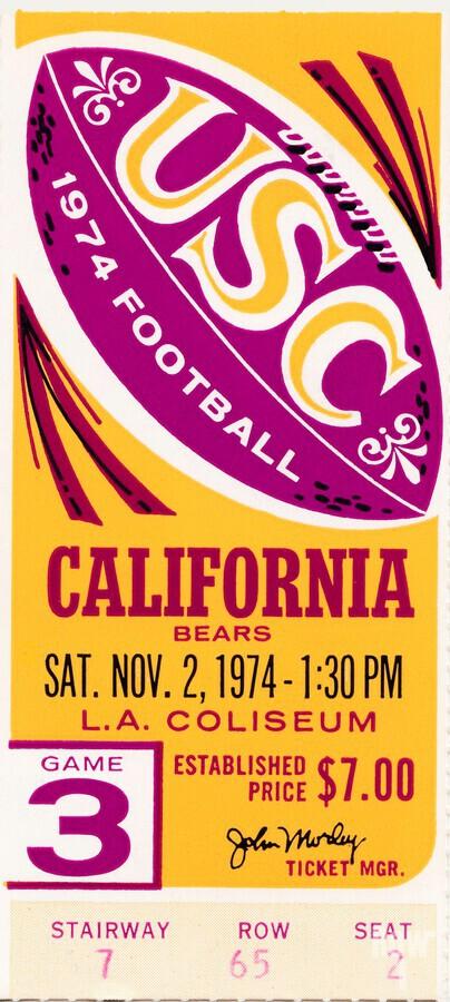 1974 usc california football ticket stub reproduction print  Print