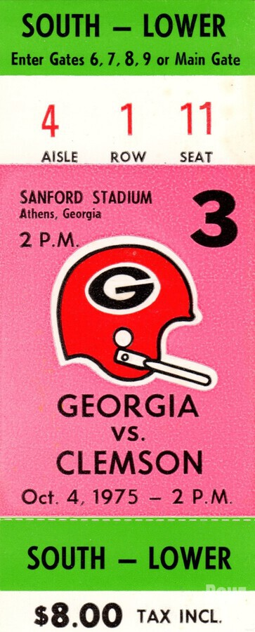 1975 college football clemson georgia bulldogs sanford stadium athens ticket stub canvas  Print