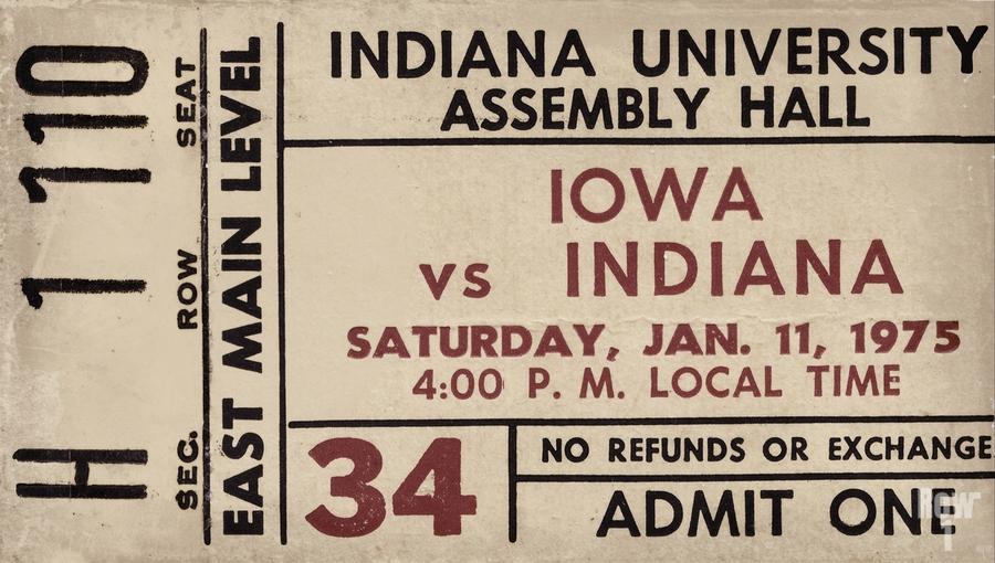 1975 Indiana vs. Iowa Basketball Ticket Metal Sign  Print