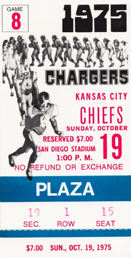 1975 San Diego Chargers Ticket Canvas  Print