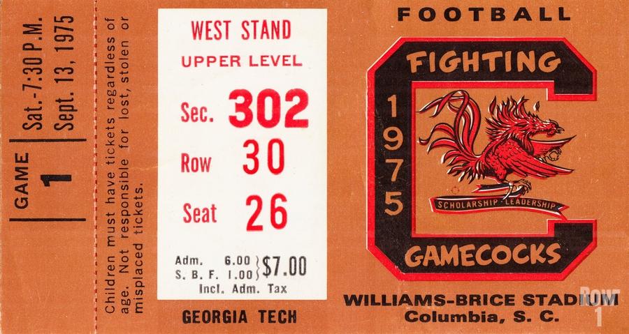 1975 South Carolina Gamecocks vs. Georgia Tech  Print