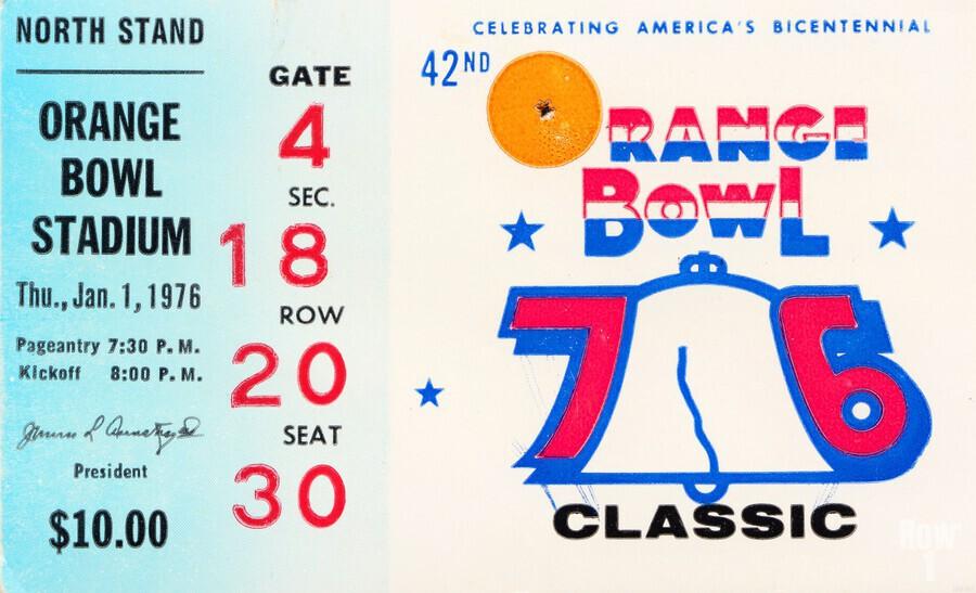 1976 Orange Bowl Ticket Stub Wall Art  Print