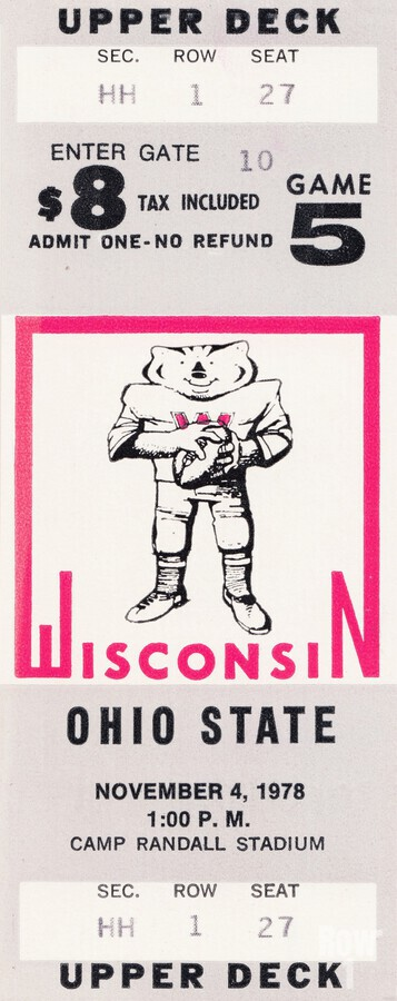 1978 ohio state wisconsin big 10 college football ticket art  Print