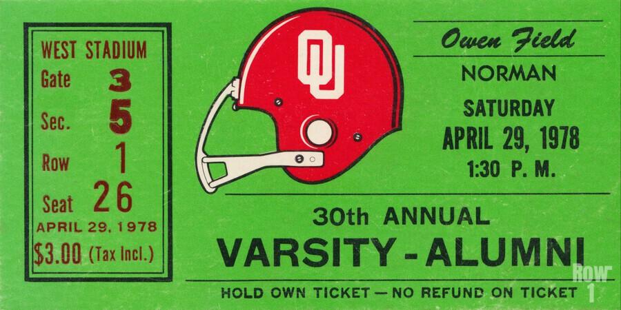 1978 Oklahoma Sooners Varsity Alumni Game  Print