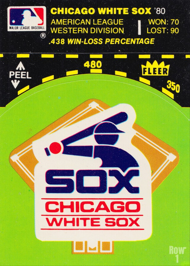 1980 Chicago White Sox Fleer Decal Wall Art  Print