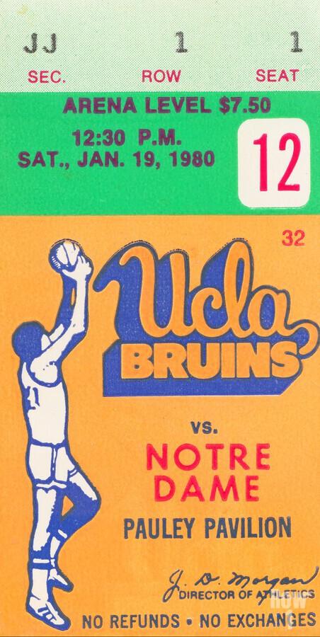 1980 UCLA Bruins Basketball Ticket Stub  Art  Print