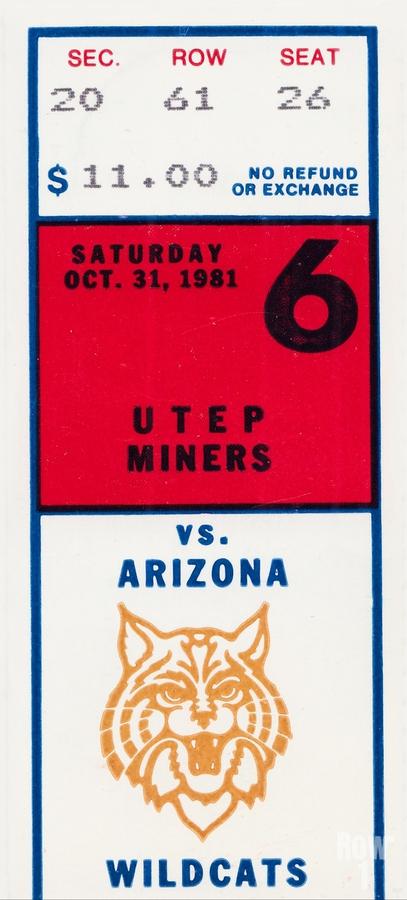 1981 Arizona Wildcats vs. UTEP Miners  Print
