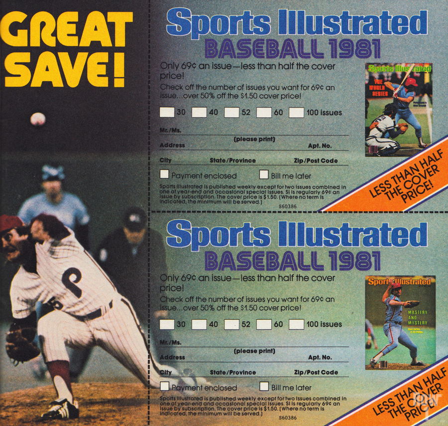 1981 Sports Illustrated Baseball Ad Poster  Print