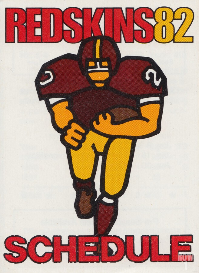 1982 Washington Redskins NFL Football Schedule Art Poster Row One Brand  Print