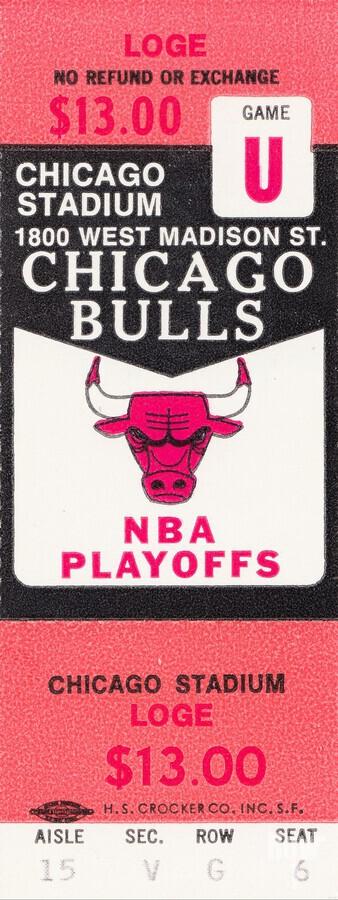 1982 chicago bulls nba playoffs phantom ticket  Print