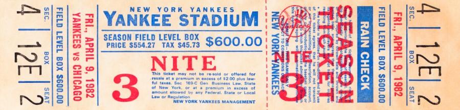 1982 new york yankees season ticket $600  Print
