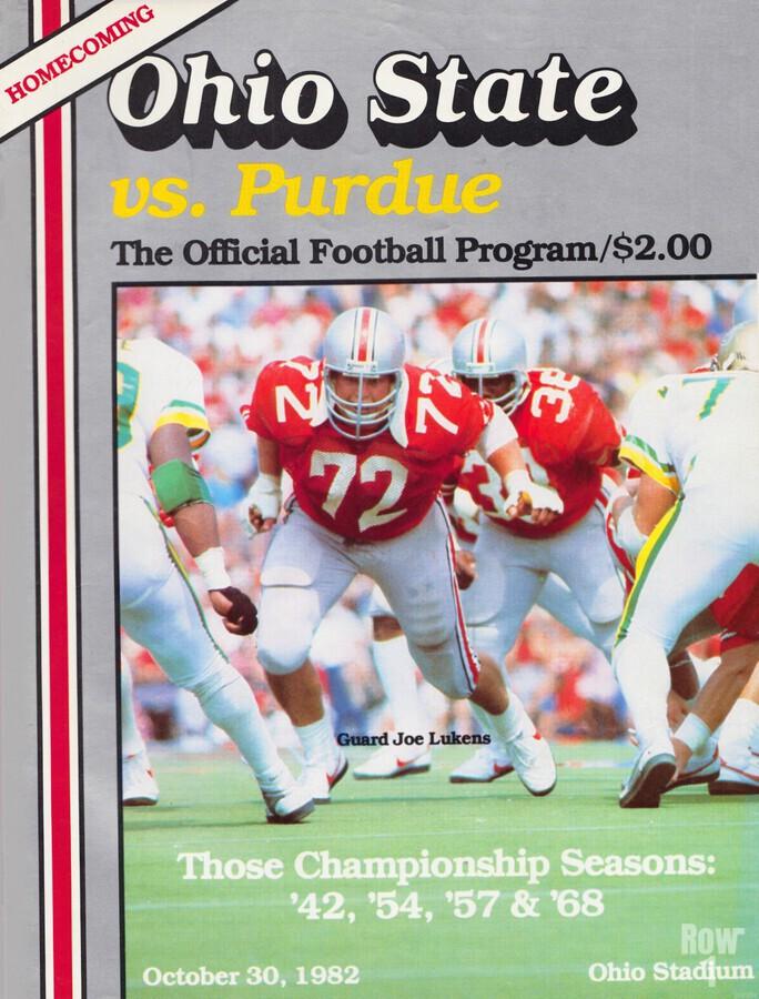 1982 Ohio State vs. Purdue Program Cover Art  Print