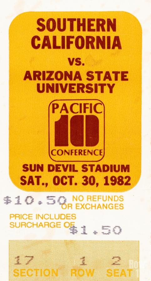 1982 USC vs. Arizona State Football Ticket Art  Print