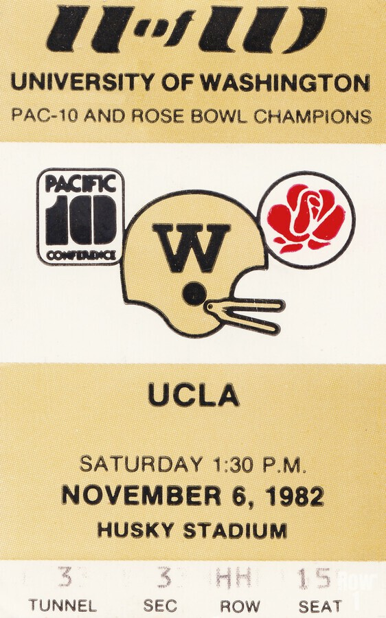1982 uw huskies washington ucla football ticket stub canvas husky stadium seattle ticket  Print