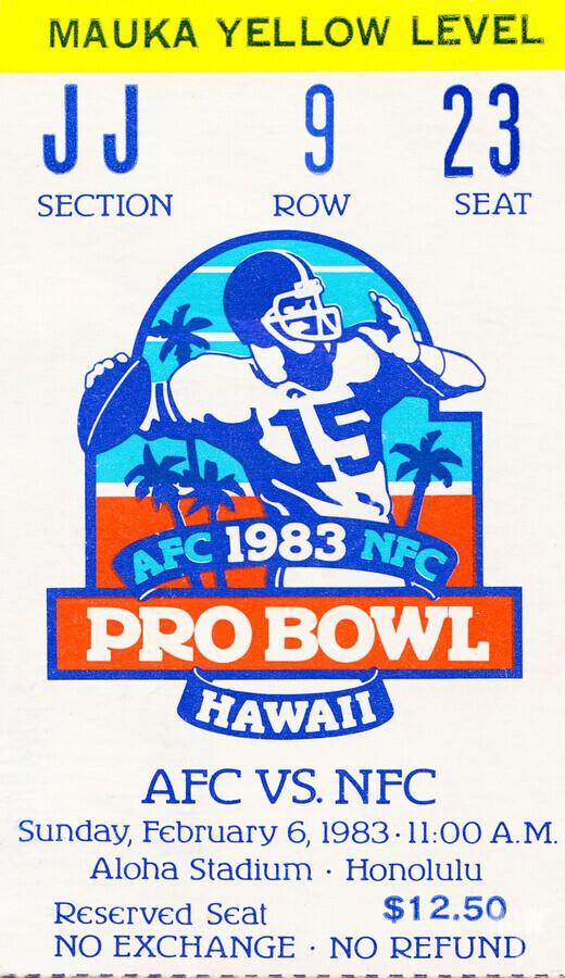 1983 Pro Bowl Ticket Stub Wall Art  Print