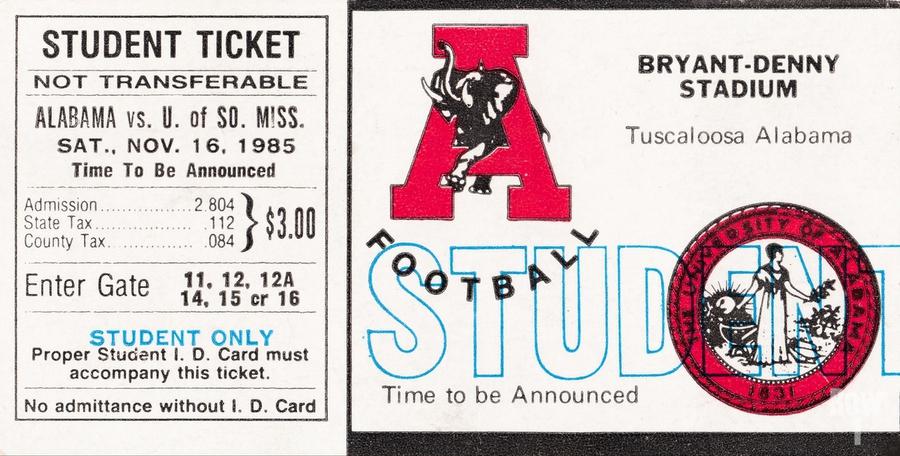 1985 Alabama Crimson Tide vs. Southern Miss Golden Eagles  Print