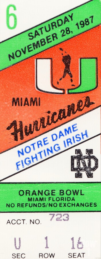 1987 Miami vs. Notre Dame  Print