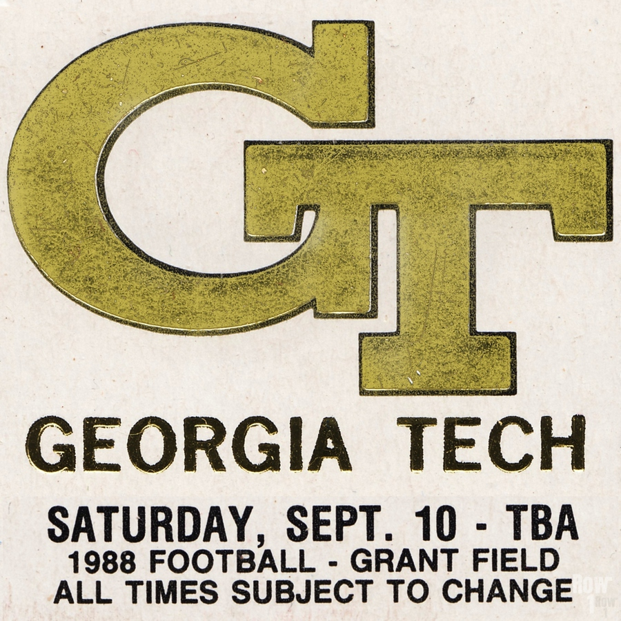 1988 Georgia Tech Football Ticket Stub Remix  Print