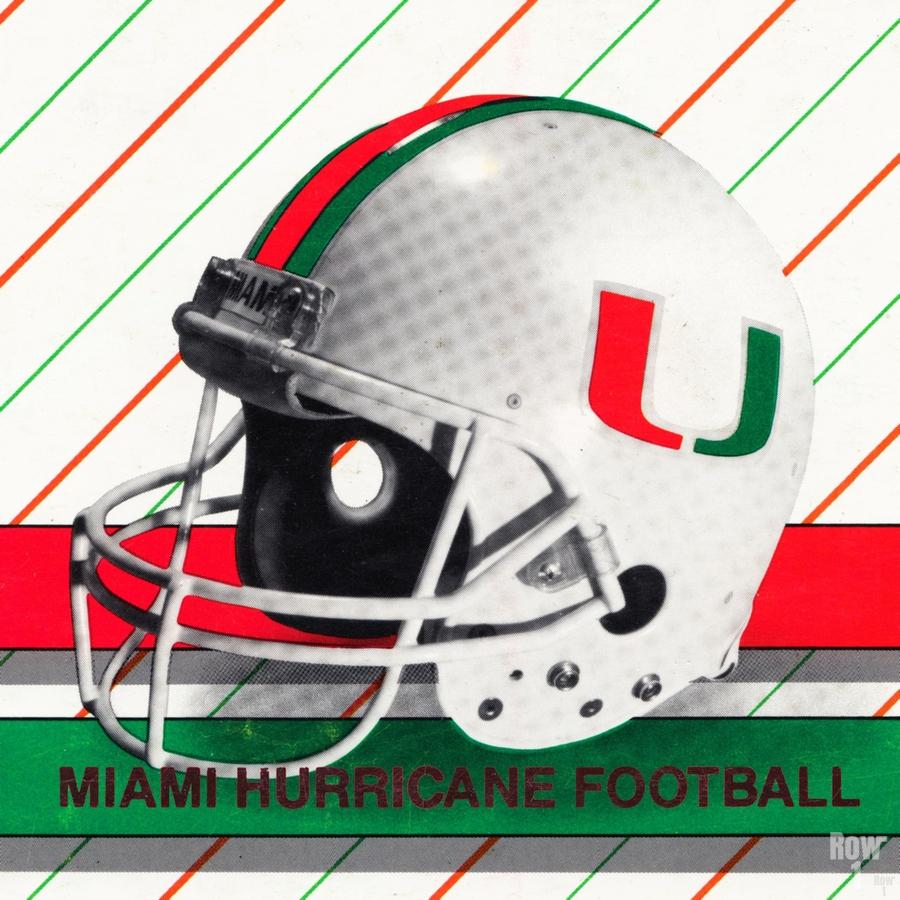 Retro Miami Hurricane Football Helmet Art  Print