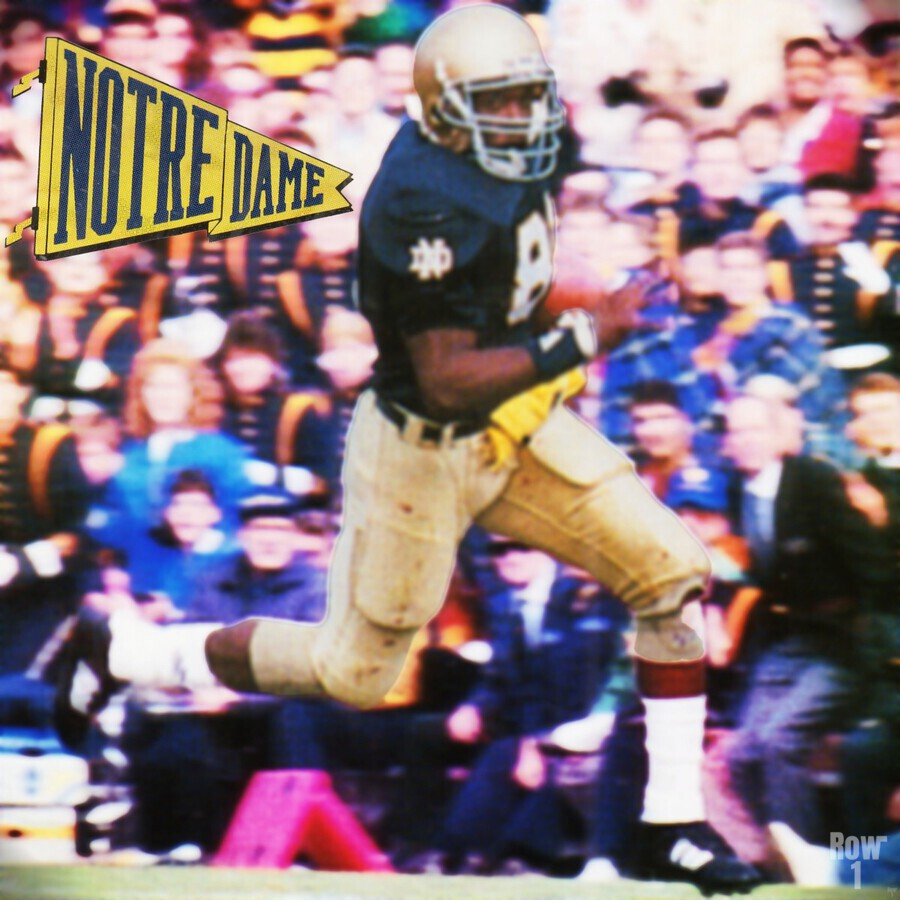 Retro Notre Dame Tim Brown Football Art  Print