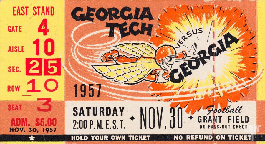 College_FootballArt_GeorgiaTechvs.Georgia_GrantField_TicketStubArt  Print