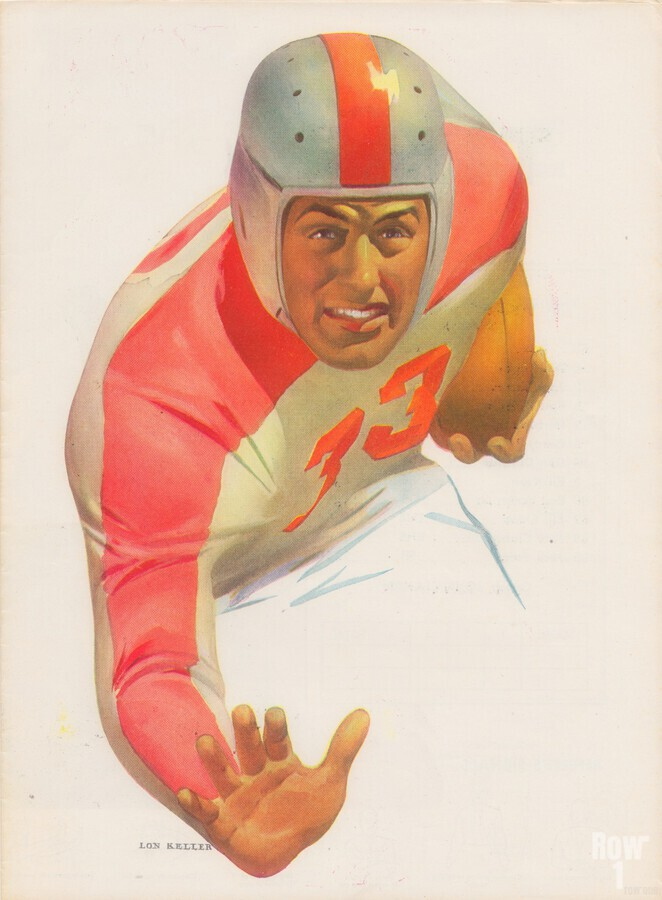 Lon Keller Football Art Reproduction_Best Vintage Football Art_Football Art Print Digitally Restored  Print