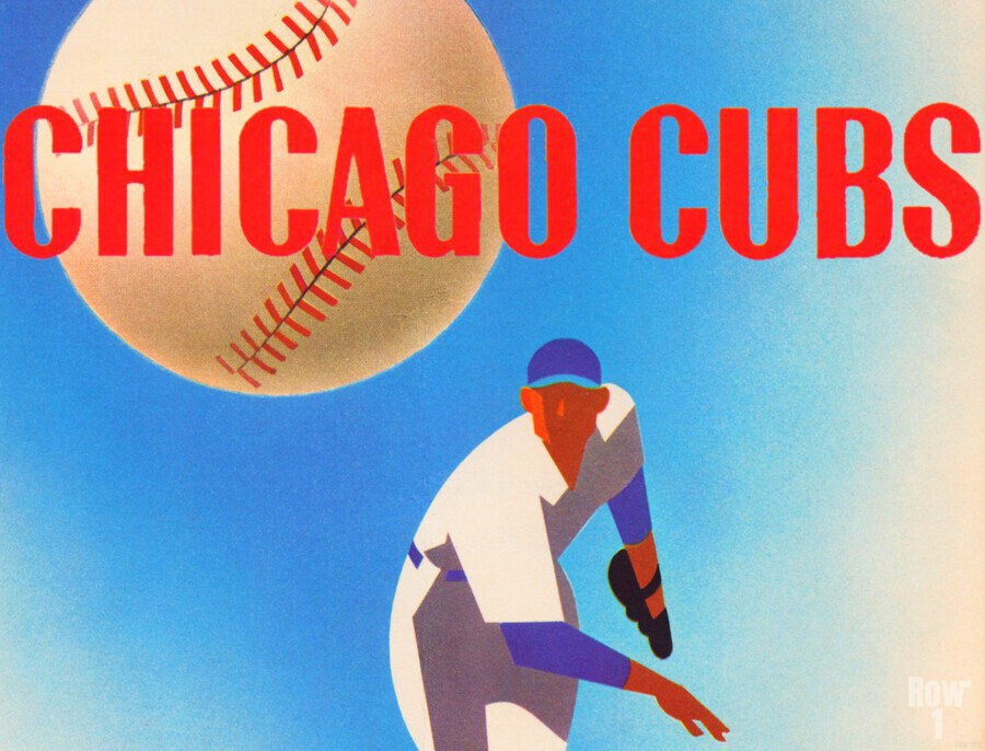 SportsArtRemixes_PublicDomainSportsArtCreations_ChicagoCubsPoster(1950)  Print
